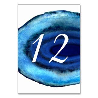 Número azul da mesa da ágata