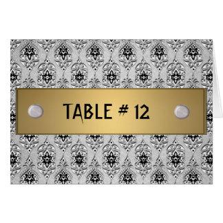 Número cinzento e cor-de-rosa da mesa do damasco cartoes