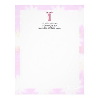 Número cor-de-rosa grande um, o primeiro aniversár modelo de papel de carta
