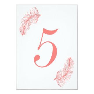Número coral da mesa do Birds of a Feather Convite 11.30 X 15.87cm