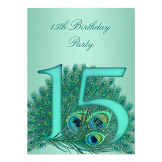 número da idade do modelo do pavão de 15 convite 13.97 x 19.05cm