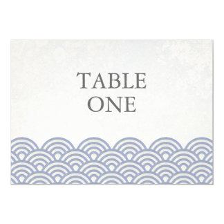 Número da mesa das ondas estilizados de Seigha do Convite 12.7 X 17.78cm