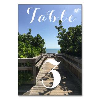 Número da mesa do acesso da praia cartão