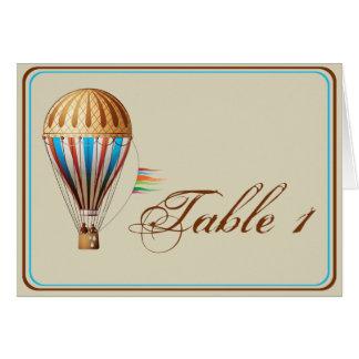 Número da mesa do casamento do balão de ar quente cartão