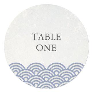 Número estilizado da mesa redonda das ondas de convite quadrado 13.35 x 13.35cm