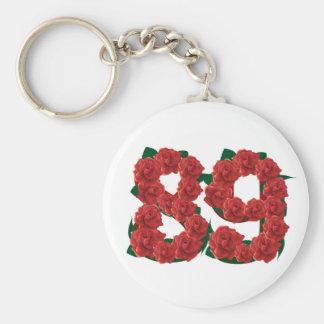 Número flor de 89 ou 89th aniversários chaveiro