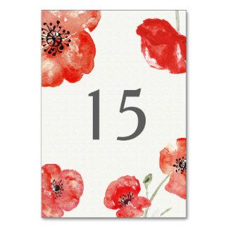 Número floral da mesa das papoilas vermelhas