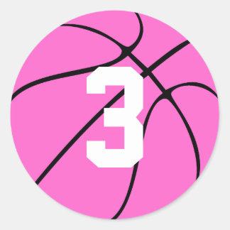 Número ou inicial cor-de-rosa do jérsei do jogador adesivo redondo