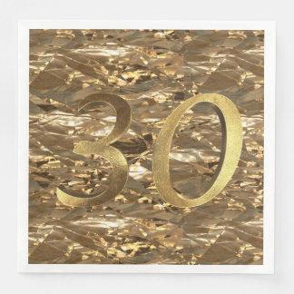 Número ouro do aniversário de casamento de 30 guardanapo de papel de jantar