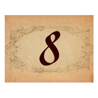 Número oval antigo da mesa do pergaminho cartão postal