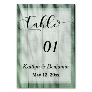 Número rústico da mesa do casamento do celeiro do cartão