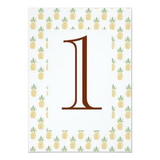 Número tropical da mesa do casamento convite 12.7 x 17.78cm