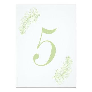 Número verde da mesa do Birds of a Feather Convite 11.30 X 15.87cm