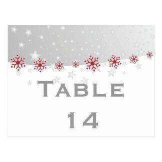 Número vermelho da mesa do casamento do floco de cartão postal