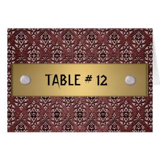 Número vermelho do damasco e da mesa da fita cartoes