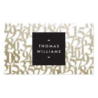 Números abstratos do ouro para contadores, cartão de visita