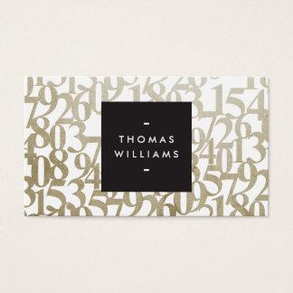 Números abstratos do ouro para contadores, cartão de visitas