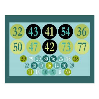 Números afortunados, design colorido, modelo cartão postal