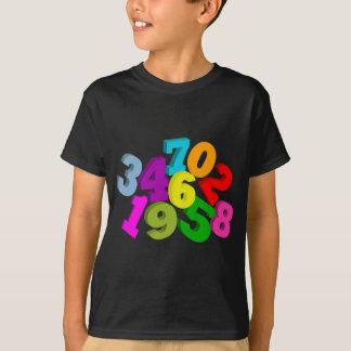 números da matemática na cor camiseta