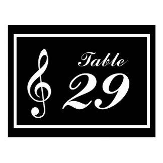 Números da mesa da nota musical (preto/branco) cartão postal