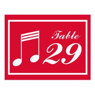 Números da mesa da nota musical (vermelhos/branco) cartão postal