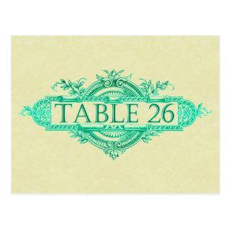 Números da mesa da recepção de casamento vintage cartão postal