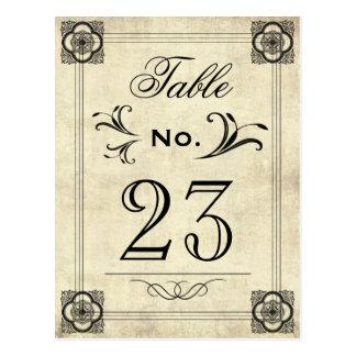 Números da mesa do casamento vintage do pergaminho cartoes postais