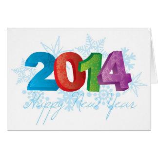 Números do texto dos 2014 felizes anos novos com f cartão comemorativo