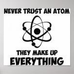 Nunca confie um átomo pôsteres