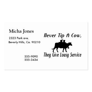 Nunca derrube uma vaca cartão de visita