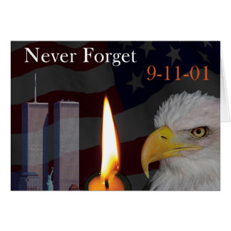 Nunca esqueça 9-11-01 cartão comemorativo
