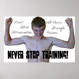 Nunca pare de treinar o poster inspirador pôster