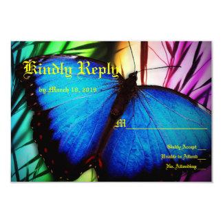 Núpcias azuis da borboleta convite 8.89 x 12.7cm