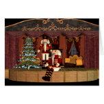 Nutcracker no palco com árvore do feriado