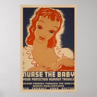 Nutra o poster vintage de WPA do bebê