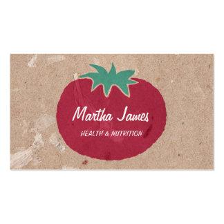 Nutrição orgânica do tomate do papel do artesanato cartão de visita