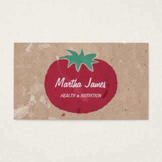 Nutrição orgânica do tomate do papel do artesanato cartão de visitas
