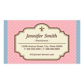Nutricionista da dietista - bolinhas bonitos cartão de visita