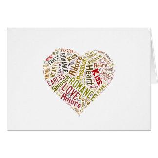 Nuvem da palavra do amor cartão comemorativo