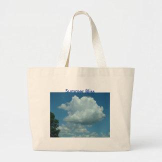 Nuvem inchado grande, felicidade do verão bolsa tote grande