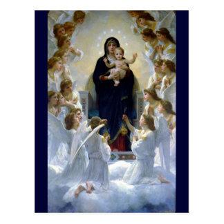 Nuvens cristãs da religião do bebê do madona dos a cartão postal