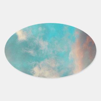 Nuvens do céu azul da cerceta adesivo oval