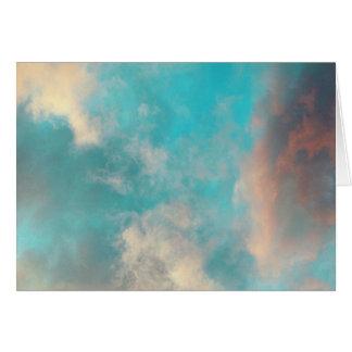 Nuvens do céu azul da cerceta cartão