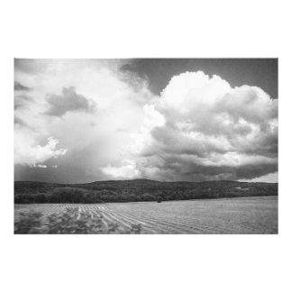 Nuvens e campos Vermont 32x48 preto e branco Impressão De Foto
