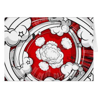 Nuvens vermelhas da luta do estilo cómico cartão comemorativo