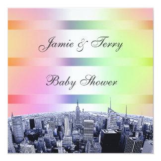 NYC gravou o arco-íris Pastel da skyline 1 chá de Convite Quadrado 13.35 X 13.35cm