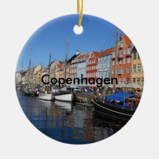 Nyhavn bonito, Copenhaga em Dinamarca Ornamento De Cerâmica Redondo