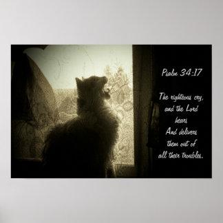 O 34:17 do SENHOR Ouvir-Salmo Pôster