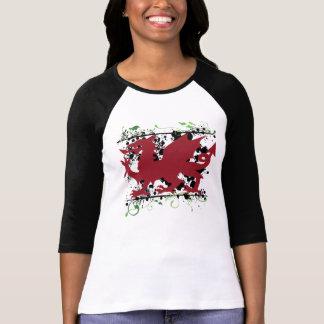 """O 3/4"""" de Ladie do dragão de Galês camisa do Ragla Camisetas"""