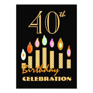 o 40th ou todo o ouro do aniversário do ano convites personalizados